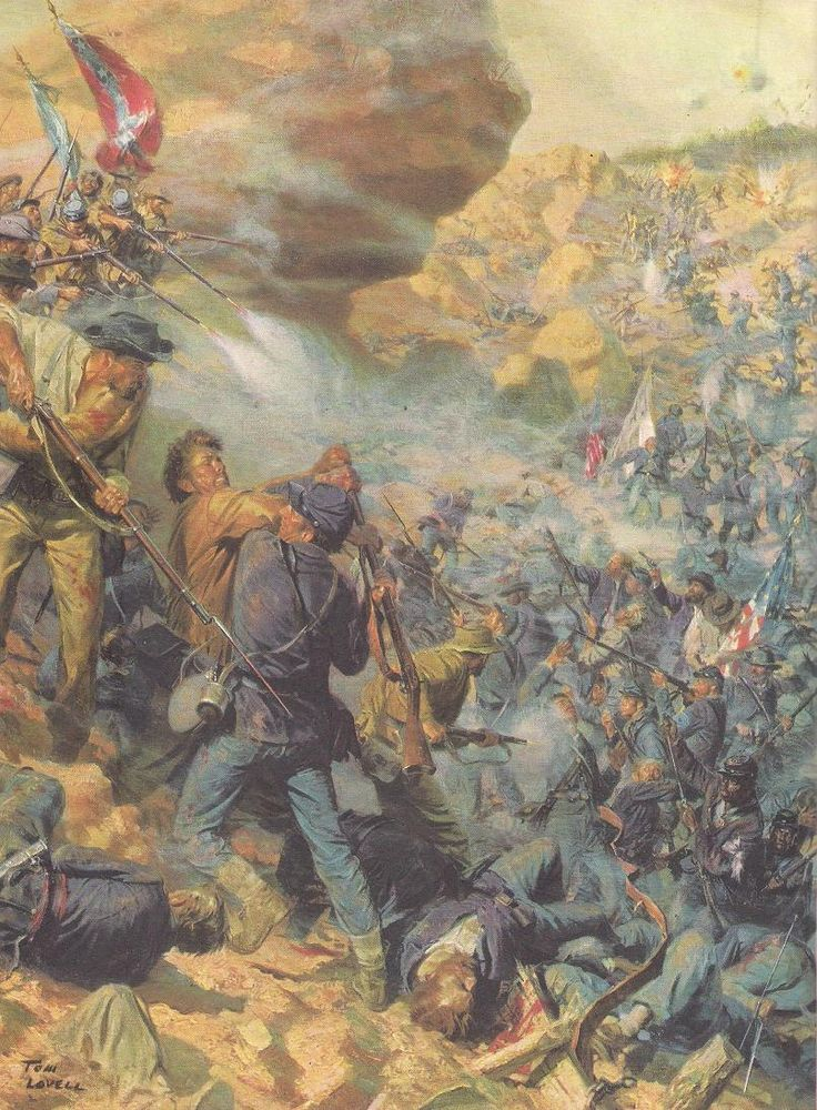 The Crater - painting by Tom Lovell. The Battle of the Crater was a battle of the American Civil War, part of the Siege of Petersburg. It took place on July 30, 1864, between the Confederate Army of Northern Virginia, commanded by General Robert E. Lee and the Union Army of the Potomac, commanded by Major General George G. Meade (under the direct supervision of the general-in-chief, Lt. Gen. Ulysses S. Grant).