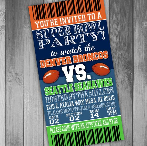 Super Bowl Party Invitation Ticket Invitation Football