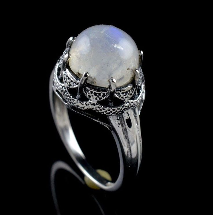 925 STERLING SILVER NATURAL RAINBOW MOONSTONE GEMSTONE MENS RING SIZE 7.75 US  #Unbranded