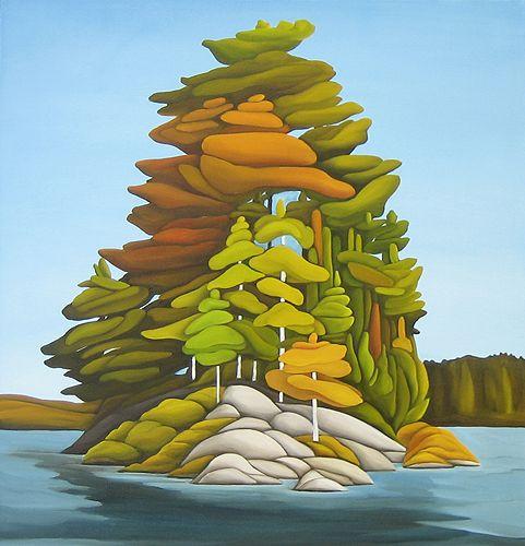 "Deb Gibson, The Island, oil on canvas, 20""x20"""