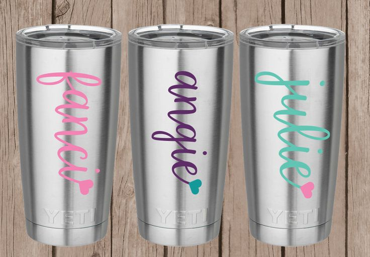 Yeti Decal - Name Decal with Heart - Yeti Tumbler Decal - Yeti Name Decal - Yeti Name Sticker - Yeti Cup for women by AimeeOgdenDesigns on Etsy https://www.etsy.com/listing/479183845/yeti-decal-name-decal-with-heart-yeti