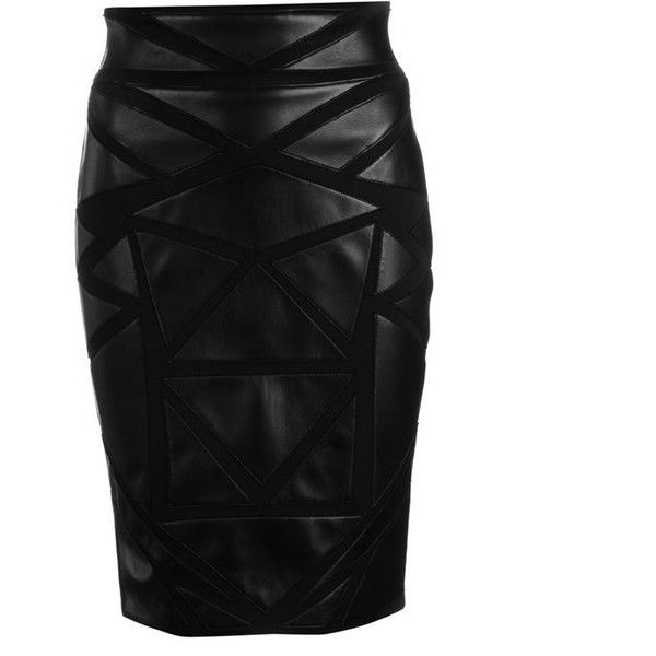 Versace Collection Leather Panel Skirt (£650) ❤ liked on Polyvore featuring skirts, bottoms, black, print skirt, leather panel skirt, versace, slim skirt and zipper skirt
