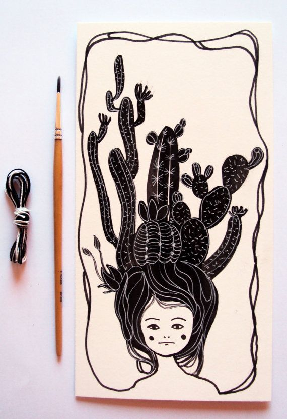 Original illustration  cactus girl  di SoQuiet su Etsy, €15.00 by Valeria Zaccheddu
