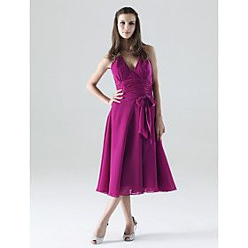 A-line Halter Tea-length Chiffon Matte Satin Bridesmaid/ Wedding Party Dress