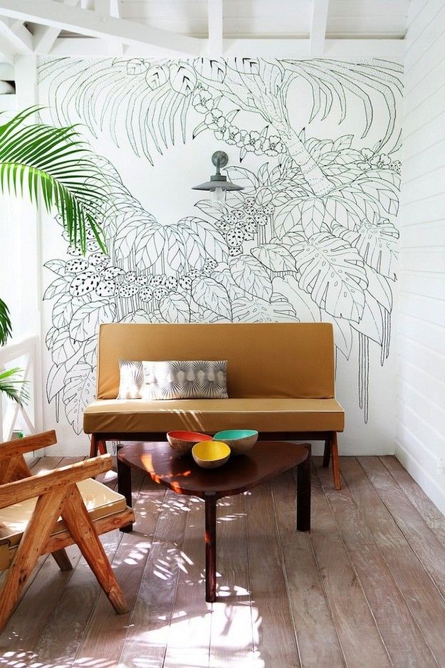 lounge spaceWall Art, Jungles, The Villas, Interiors, La Banane, Wall Murals, Painting By Numbers, Line Drawing, White Wall