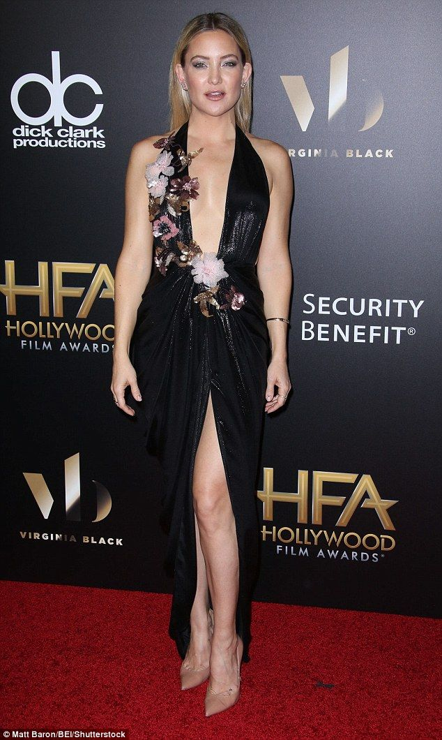 Stunning: Kate Hudson in Marchesa arrived at the Hollywood Film Awards on Sunday at the LA Beverly Hilton Hotel wearing a black metallic number