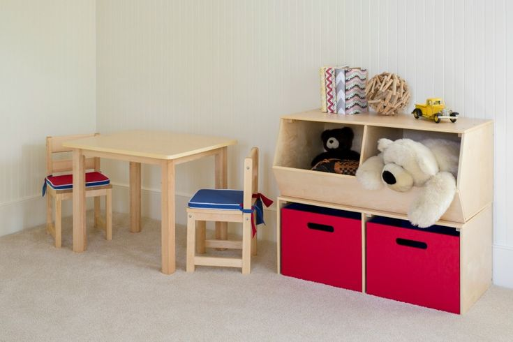Playroom inspiration with a kid's play table and chairs set and our new toy storage - open bins, floor hutch and reversible boxes available in multiple colors.