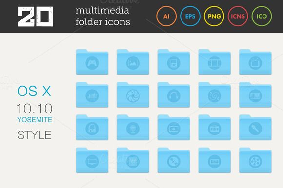 Check out Multimedia Folder Icons Set by MastakA on Creative Market