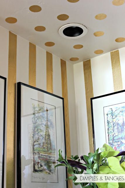 GOLD POLKA DOT STRIPED NICHE, duck duct tape for wall accent