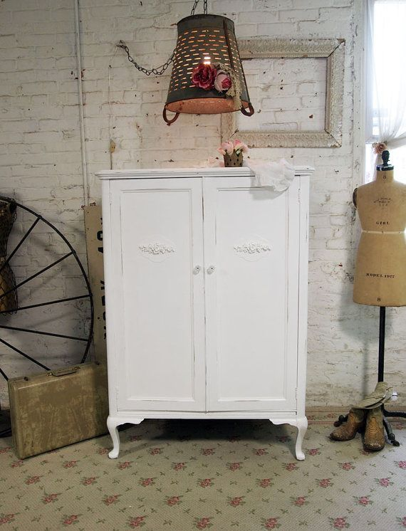 Painted Cottage Chic Shabby White Armoire / by paintedcottages, $395.00: Paintings Furniture, Cottages Armoires, Cottage Chic, Shabby White, Cottages Chic, Paintings Cottages, Chic Shabby, White Cabinets, Kate Paintings