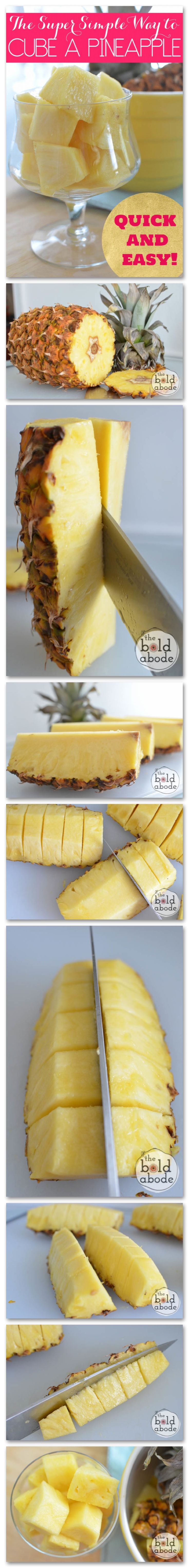 Quick and easy way to cut a pineapple!