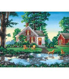 """Reeves Paint By Number Kit 20""""X16-Summer Cottage"""