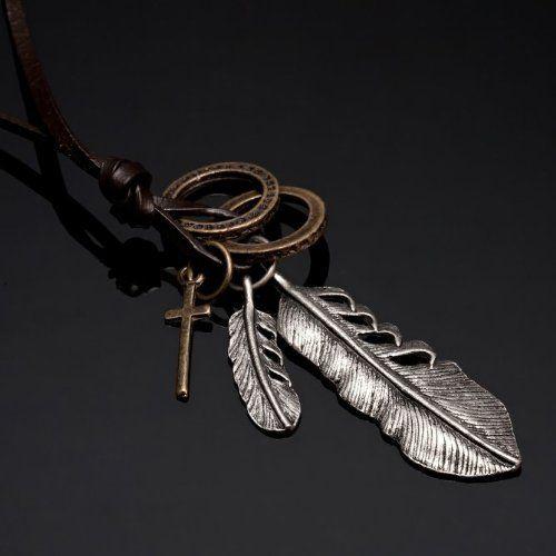 R&B Joyas - Collar hombre estilo vintage, cordón de cuero marrón con colgante pluma y cruz, metal plateado