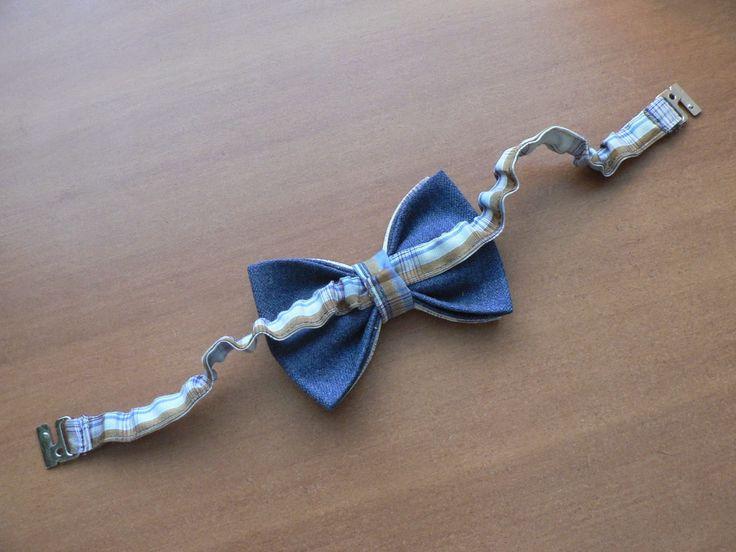 : Мужской галстук-бабочка. Двух-цветный.Ремешок - вышел слегка назборен. Провздеть его под кольцо сердцевины.