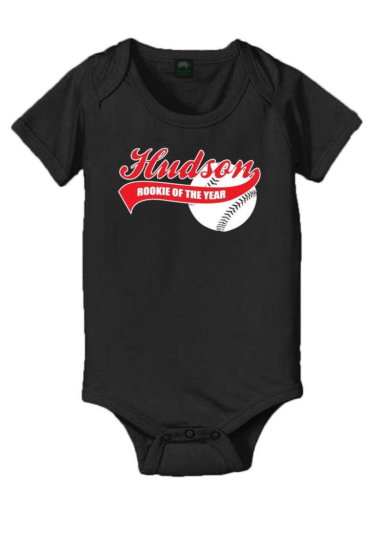 Personalized baseball rookie of the year baby onesie, 1st birthday boy onesie