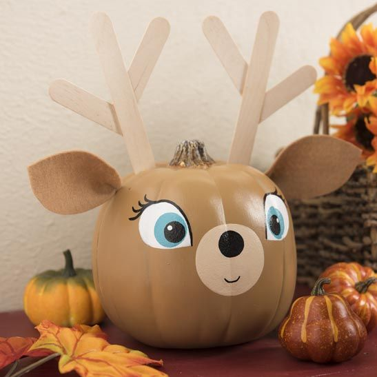Oh deer! From Halloween thru the holidays, the little ones will love helping to make this cute animal pumpkin!! 6 Clever No Carve Craft Pumpkins with Craft Box Girls