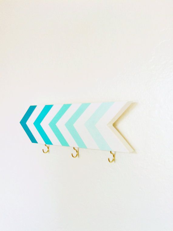 Wall hook chevrons in turquoise blue + mint ombre. Perfect for organizing a foyer. Pretty home decor with an arrow or stripe theme. Etsy
