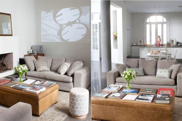 En el living, dos sillones de pana (desde $8.500 más género, Fradusco), una mesa baja de cuero diseñada por la propietaria, una banqueta 'Olaf' ($968 Picnic) y una alfombra que delimita el espacio..