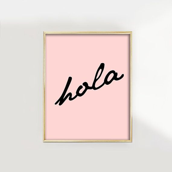 PRINT Hola Spanish for Hello Black Text on by GlamLambCreations