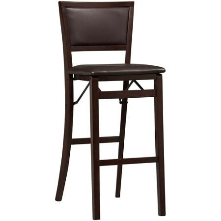 """Linon Keira Padded Back Folding Bar Stool, 30"""", Espresso 