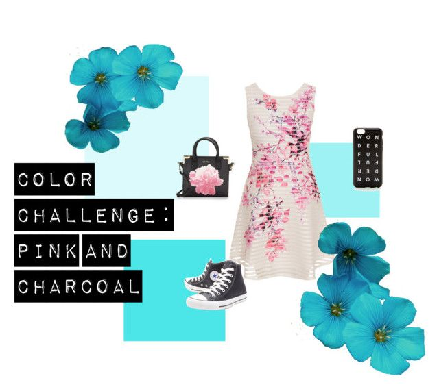 """Color Challenge: Pink and Charcoal"" by danniyellington on Polyvore featuring Lipsy, Converse, J.Crew, Calvin Klein, converse, floralprint and colorchallenge"