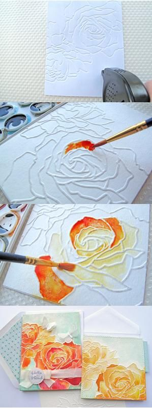Distress Watercolor Dry Embossing. See source for details. Feel like could create something similar with glue and water colors