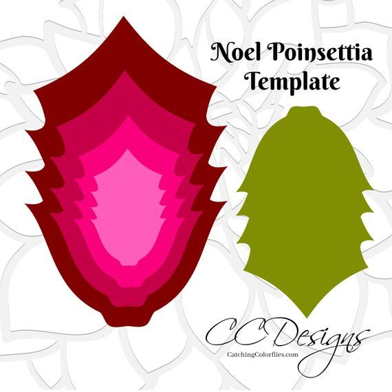 Giant Poinsettia Paper Flowers Template Christmas Svg Files Paper