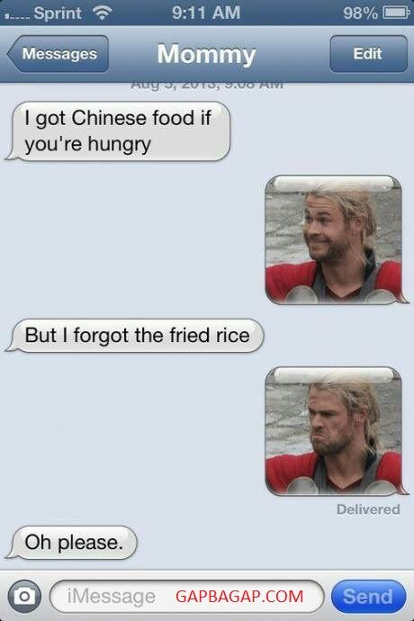 Hilarious Text About Chinese Food vs. Hungry
