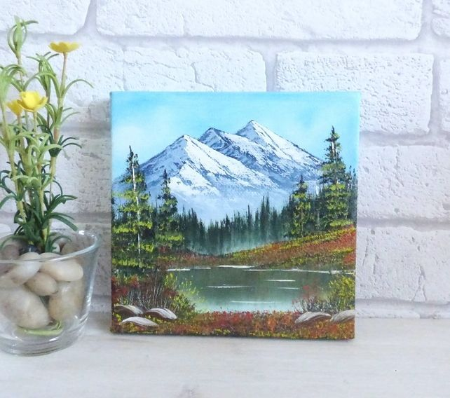 Original Mini Landscape Oil Painting Mountain Lake Scenery In 2020 Small Canvas Paintings Canvas Painting Landscape Small Canvas Art