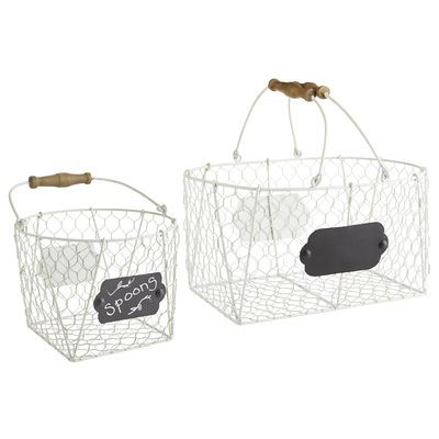 Whether you're gathering eggs from your urban coop or simply enhancing a rooster-themed kitchen, our Farmhouse Baskets rule the roost. Crafted of iron chicken wire with a top handle, they're something to crow about.