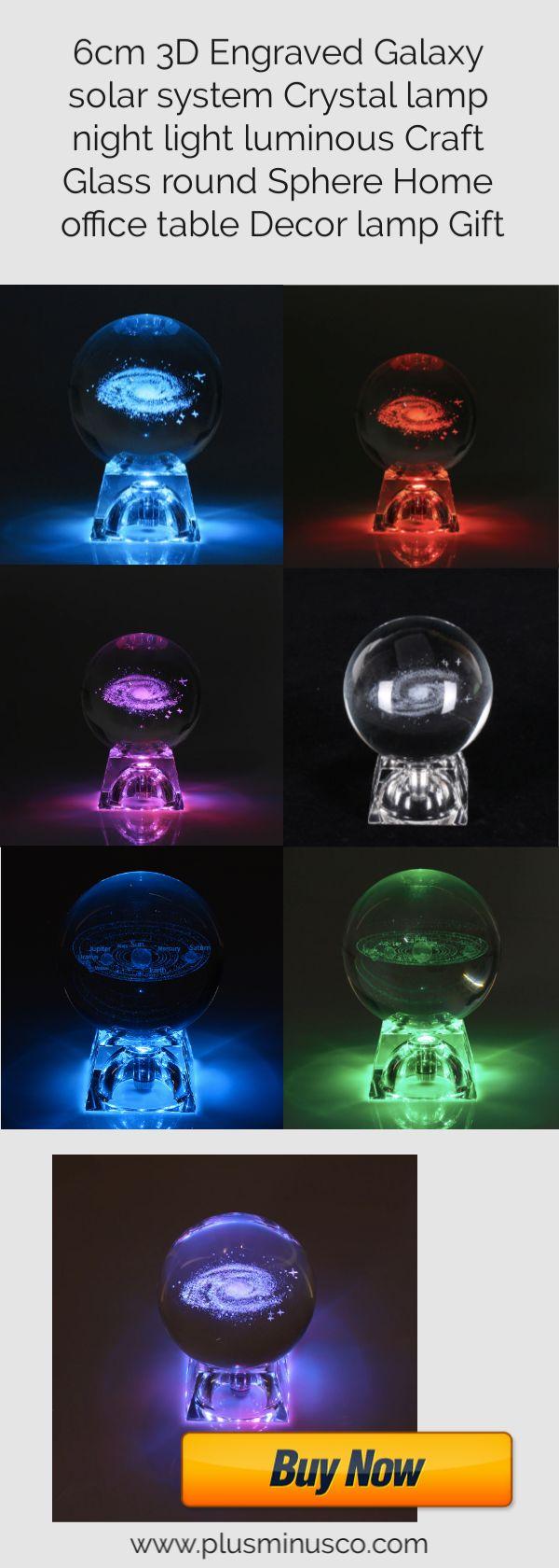 6cm 3d Engraved Galaxy Solar System Crystal Lamp Night Light Luminous Craft Glass Round Sphere Home Crystal Lamp Night Light Galaxy Solar System