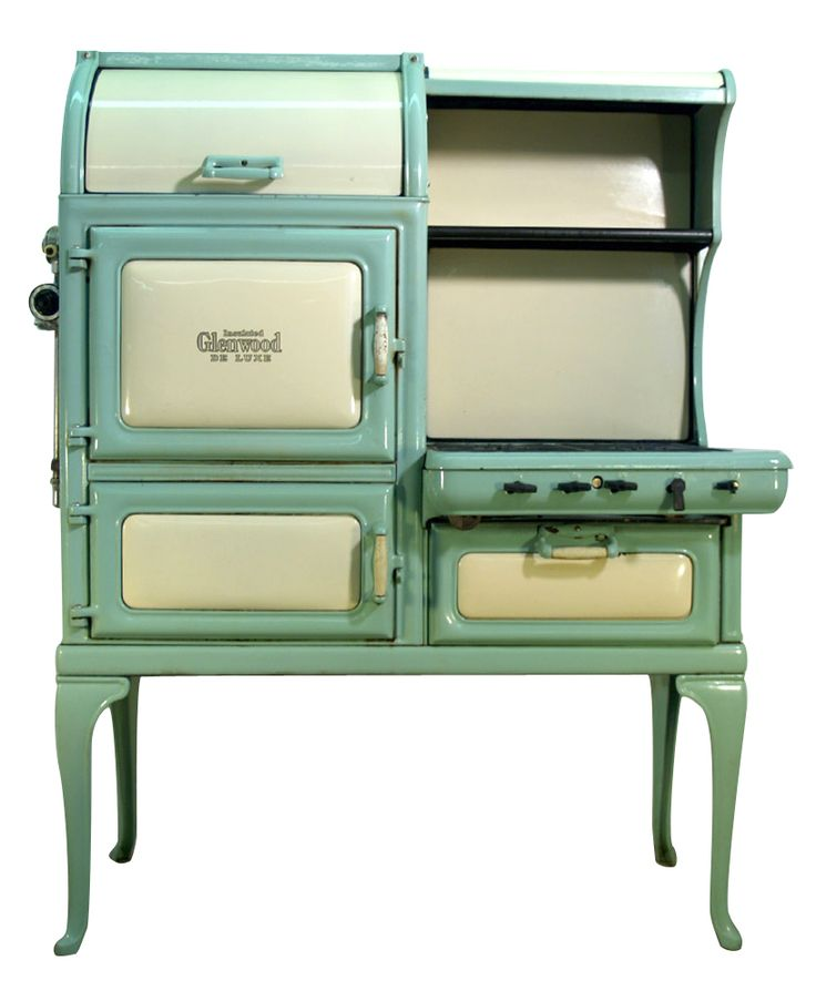 Insulated Glenwood Deluxe Retro Gas Antique Cook Stove in seafoam green & white.  Sales price without tax: $6,850.00