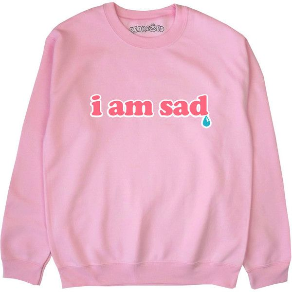I Am Sad Sweatshirt 90s Grunge Teardrop Japanese Kawaii Soft Grunge... ($25) ❤ liked on Polyvore featuring tops, hoodies, sweatshirts, jumpers, shirts, blue, women's clothing, blue top, shirt top and blue sweatshirt