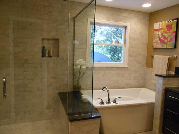 Kohler soaking tub  Frameless shower door with bench seating  subway ceramic tile  Counter Dimensions  Birmingham  AL  Riverchase Bathroom. 1000  images about Bathroom Makeovers on Pinterest   Shaker style