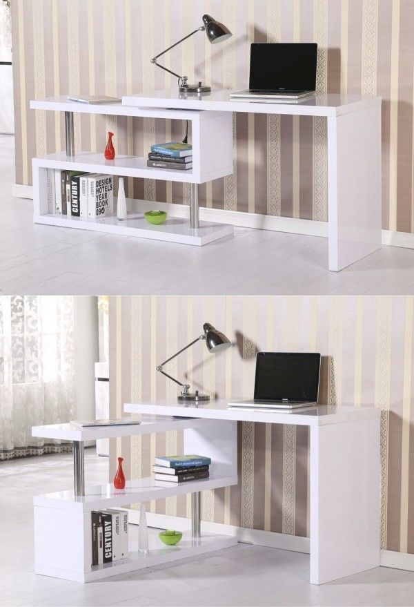 Very cool! The shelf rotates outward to create an L-shaped workspace with plenty of room for storage and reference materials. Simply rotate the arm back into place when finished working to save space in a small room.