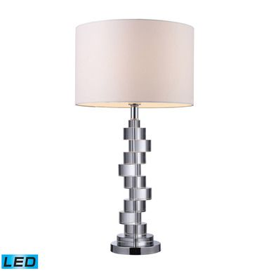 Dimond Lighting Armagh LED Table Lamp In Clear Crystal And Chrome With Pure White Faux Silk Shade