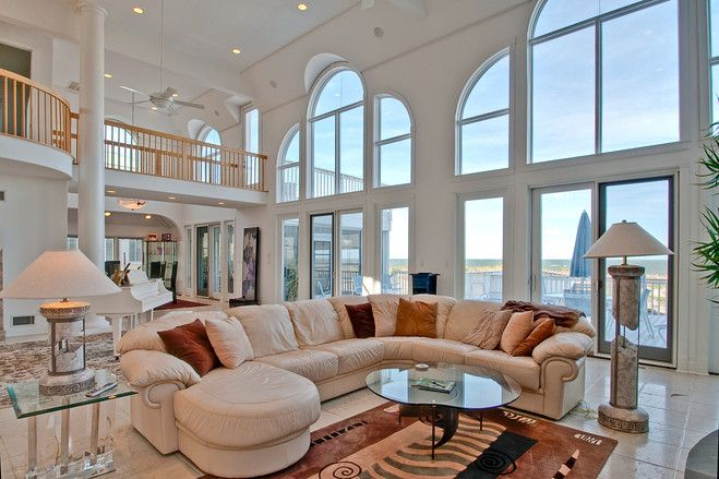 This nearly 7,000-square-foot home in Rehoboth Beach, Del., was custom-built to capture panoramic views of the Atlantic from three decks and a wall of oceanfront windows. (Credit: Sandi Bisgood)