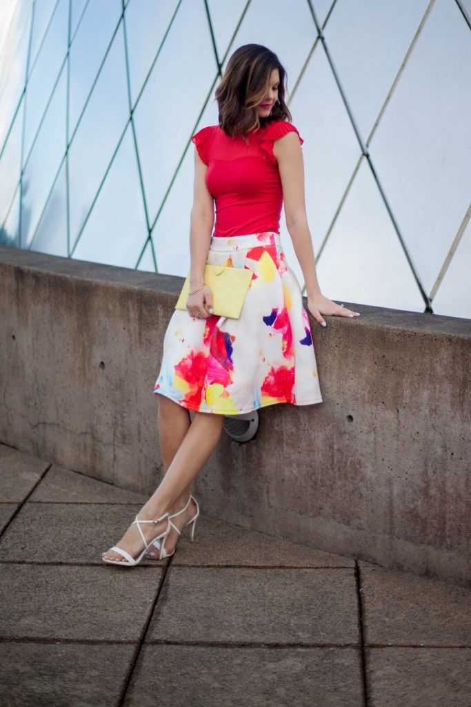 Colorful Flare Midi Skirt | Bold Red Top | Yellow Clutch | Spring Fashion | www.stylemissmolly.com