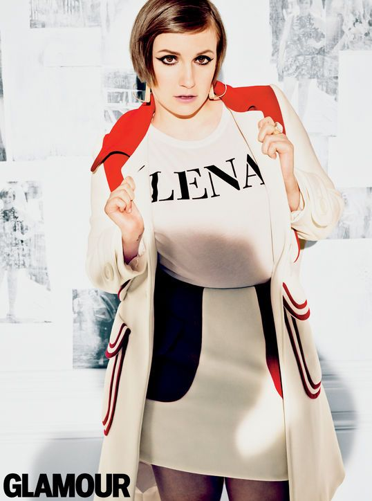 Lena Dunham in Glamour, April 2014. Miu Miu coat, skirt; Vince T-shirt, customized by Glamour; Prabal Gurung for Chrishabana ear cuffs; Slane ring, $290. Photo: Tom Munro.