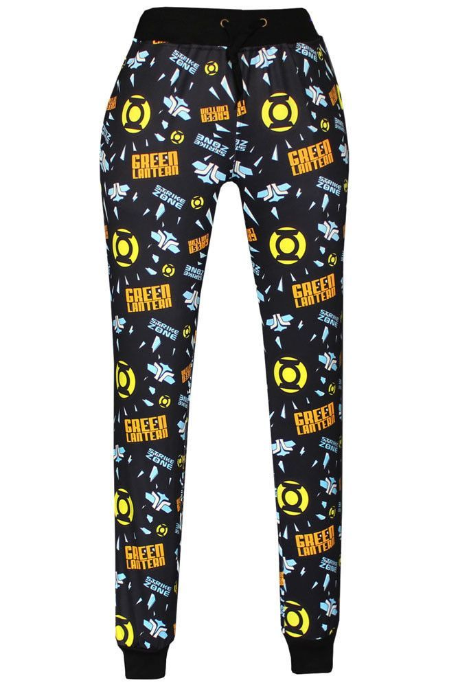 Black Green Lantern Logo Print Fashion Pants