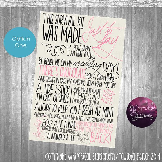 Wedding Day Survival Kit Card - (Printable File Only) Coordinate to Your Wedding Colors Instant Download on Etsy, $15.00