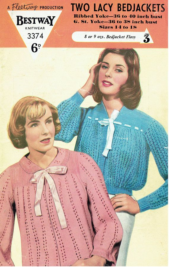 PDF Vintage 1950s Womens Ladies Pussy Bow Bedjacket Knitting