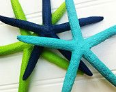 Set of 3 nautical painted finger starfish navy blue turquoise lime green beach lake house decor nautical wedding wall nursery party