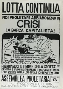 Assemblea di Lotta Continua, manifesto del disegnatore Buonfino, 1970.
