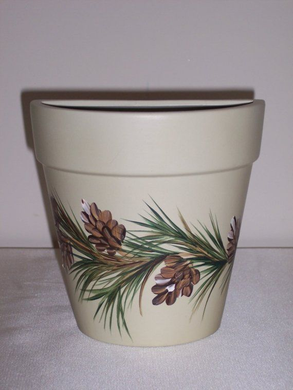 Hand Painted Clay Flower Pot with Pinecones by NaturesPetals, $15.00