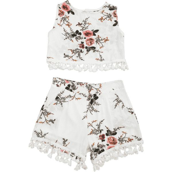 Floral Print Beach Cover Up Shorts Set ($17) ❤ liked on Polyvore featuring swimwear, cover-ups, floral two piece, 2 piece swimwear, floral swimwear, cover up beachwear and swim cover up