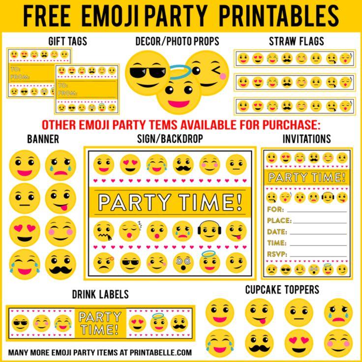 Free Emoji Party Printables + Extras :http://printabelle.com/product/free-emoji-party-printables-extras/