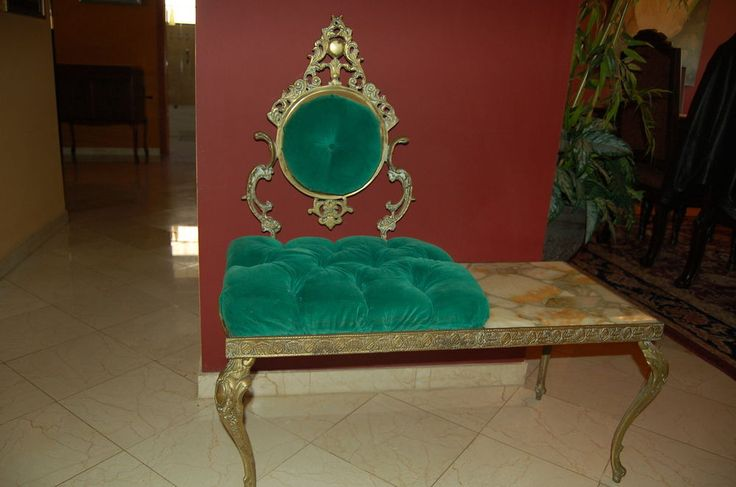 Antique Vintage Emerald Green Velvet Telephone Chair