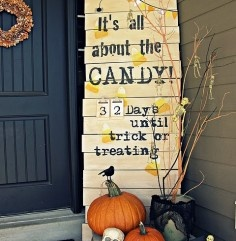 DIY Halloween countdown sign for your porch!: Holiday, Halloween Idea, Craft, Halloween Sign, Halloween Fall, Halloween Countdown, Fall Halloween, Porch Sign