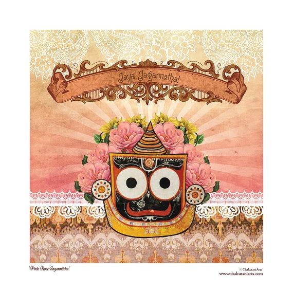 Pink Rose Jagannatha 8x8 matted art print fits by ThakuraniArts, $28.00